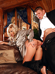 Hot clothed couple loves shagging in a room