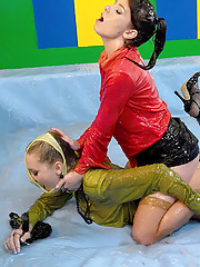 Two lesbian chicks playing with slippery goo