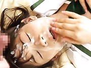Asuka Ohzora Asian in school uniform gets lot of sperm on face