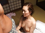Mina Toujou Asian is licked on poonanie and rubs cock in pants