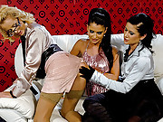 Caressing her damp tight cooter with vibrator