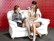 Two lesbian girls playing with a big vibrator