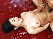 Sora Aoi Asian busty has oil poured on her while is screwed