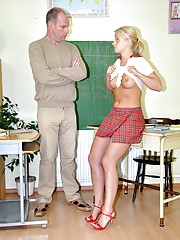 Teen cutie banged by her horny senior teacher