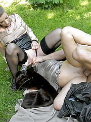 Urinating outdoors on sexy and willing girls