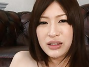 Riko Oshima Asian teased with sex toy on cunt and licking sperm
