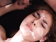 Maria Ozawa Asian gets so much sperm on face after she sucks cock