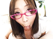 Ami Asian harlot with pink specs and shoes sucking strong stiffy
