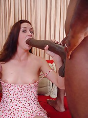 Sexy Leah had never entertained the thought of wrapping her lips around a black man's cock, but once she takes a look at what we have waiting for her she quickly changes her tune.