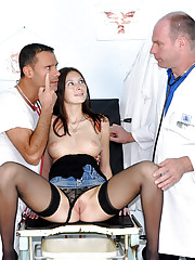 Two horny doctors fucking their sexy patient