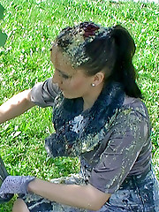 Fetish chicks playing with the trash outdoors