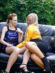 Two cute lesbian sweeties fucking with toys