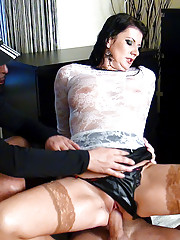 Pornstar screwing two horny guys at her home