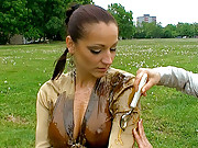 Horny and clothed babes getting dirty outside