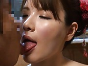 Rui Saotome Asian strokes cock and has tits fondled in the water