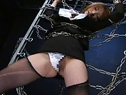 Yua Kisaki Asian is all tied in chains and teased on her poonanie