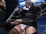 Yua Kisaki Asian is tied in chains and fucked with finger in cunt