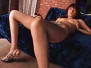 Erika Satoh Asian with sexy sandals fucks her poonanie with dildo