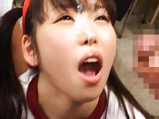 Aya Shiraishi Asian has sperm pouring from the filled with mouth