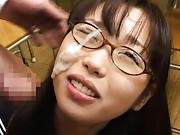 Aya Shiraishi Asian in uniform gets a lot of sperm on her specs