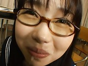 Aya Shiraishi Asian in uniform and with specs gets cum in mouth