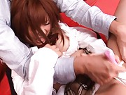 Kokomi Naruse Asian has pussy teased by pink vibrator in scanty