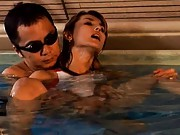 Maria Ozawa Asian is rubbed with her thong in asshole in water