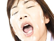 Asuka Ohzora Asian gets lot of sperm on face she tries to lick