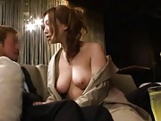 Ai Sayama Asian with big jugs nude under coat sucking boners