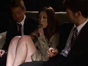 Ai Sayama Asian with sexy legs has some beers with two fellows