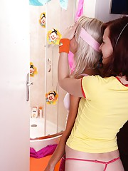 Adorable teenage lesbians kissing each other