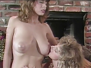Retro babes rubbing hairy pussies together