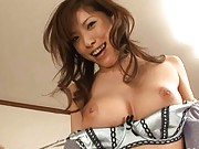Riko Tachibana Asian shows her juicy hooters to other two chicks