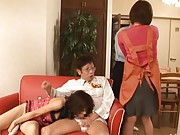 Haduki Asian sucks dong while her cunt is teased with vibrator