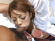 Risa Tsukino Asian has to suck phallus with chap sitting on her