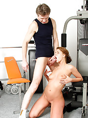 A horny fitness instructor fucked by student