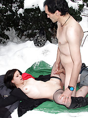 Girl loves having sex with senior in the snow
