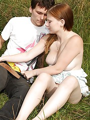 Gorgeous teen redhead jerks his cock outdoors