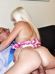 Horny old senior plays with her young boobs