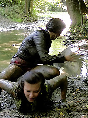 Hot messy lesbian girls playing in the woods
