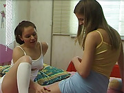 Cute young teenage girls exploring their body