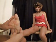 Kirara Asuka Asian with red dress is massaged on sole she licks