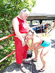 Running senior guy shagging a younger chick