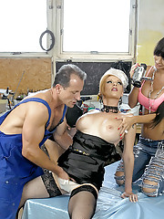 Hot chicks banged by two horny dudes hardcore