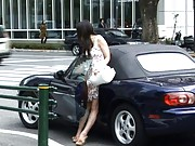 Japanese AV Model is teased with vibrator by man in the car