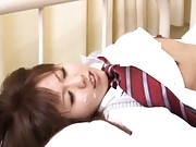 Japanese AV Model with racy titties rides patient tool in his bed