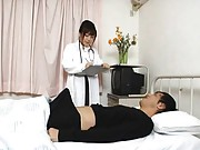 Japanese AV Model doctor has slit licked over lingerie by patient