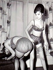 Girls enjoy spanking other girls in fifties