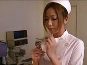 Japanese AV Model in nurse uniform and white stockings is tied