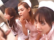 Maria Ozawa Asian and another two nurses open mouths to get sperm